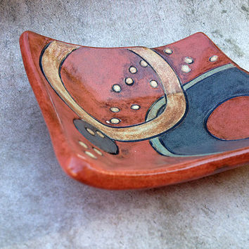 Earthy Red Spoon Rest, Ring Dish w/ Hand Carved Details, Porcelain Tiny Plate, One of a kind, Ready to Ship Small Gift 4.5 in. sq. Food safe