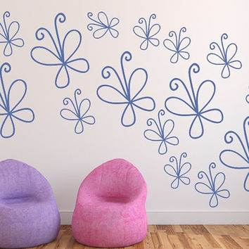 Wall Decals Doodle Butterflies Variety Size Set of 15 Vinyl Decals 22518