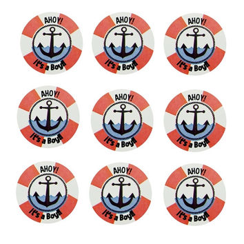 Its A Boy Anchor Seal Paper Stickers, 1-Inch, 24-Count