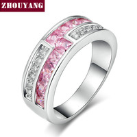 18K White Gold Plated Luxry Wedding Ring Engagement Pink & Clear AAA CZ diamond Jewelry For Women with Austrian Crystal ZYR532