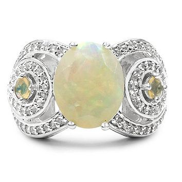 SALE  A 2.43CT Oval Cut Natural Opal White Topaz Ring