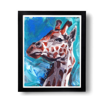 Giraffe Painting, 8x10, oil painting, gifts under 20, giraffe wall art, african art, animal art, african animal art, african animal decor