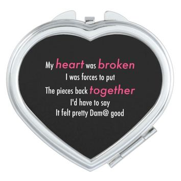 Love Quotes Black/Pink heart shaped Compact mirror
