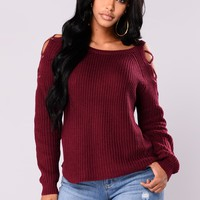 Lala Lace Up Sweater - Burgundy