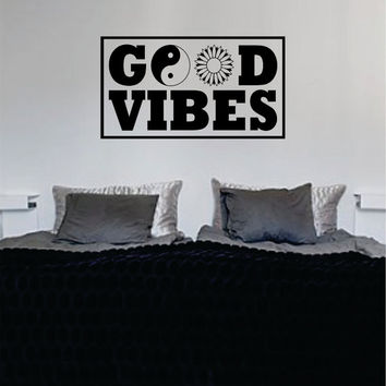 Good Vibes Yin Yang Flower Version 3 Square Design Quote Decal Sticker Wall Vinyl