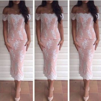 Lace Boat Neck Off Shoulder Long Sleeve Mid-calf Dress