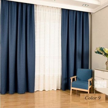 Modern style linen blackout window curtains multicolor optional solid color