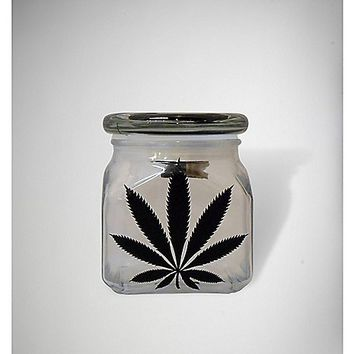 LED Leaf Green Glass Storage Jar - Spencer's