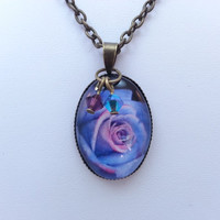 Blue and Purple Rose Necklace - Bronze, Chain, Image, Glass Bead, Glass Dome