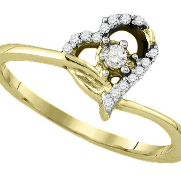 10k Yellow Gold Round Diamond Womens Heart Dainty Promise Bridal Engagement Ring 1/10 Cttw 77635