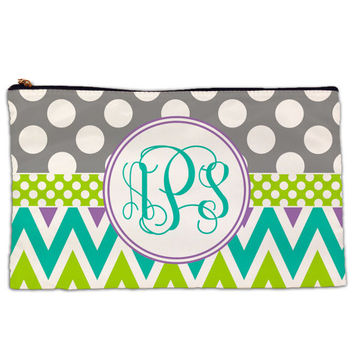 Personalized Pencil Bag-Chevron Dot Monogram