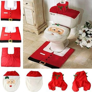 Santa Claus Toilet Seat Cover and Rug Bathroom Set