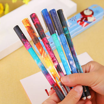 1 PCS Black Color Gel Pen Starry Pattern Cute Kitty Hero Roller Ball Pens Students Stationery Office Supplies