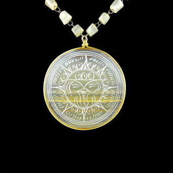 Aztec Mayan Sun Medallion Pendant Necklace - 1970s