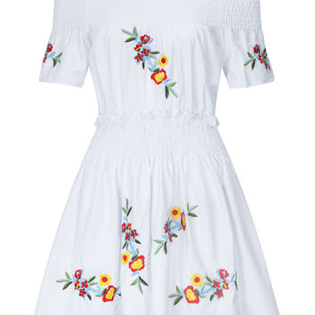 White Off Shoulder Embroidery Skater Dress