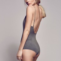 Women Sexy V Neck Cami Bodysuit with Scoop Back Basic Straps Bodysuit Low Back Bodysuits