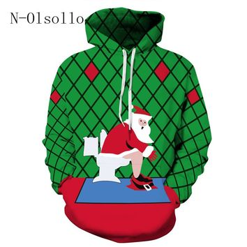 Fashion 2017 Novelty Kuso Santa Claus Use the toilet Green/Red Girls Hoodies Sweatshirts Loose Casual Jumpers Jogger Pullovers