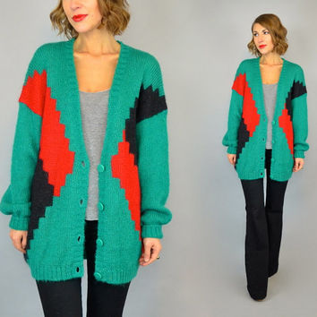vtg 80s GEOMETRIC plunging deep-v oversized slouchy MOHAIR boyfriend CARDIGAN sweater, extra small-large