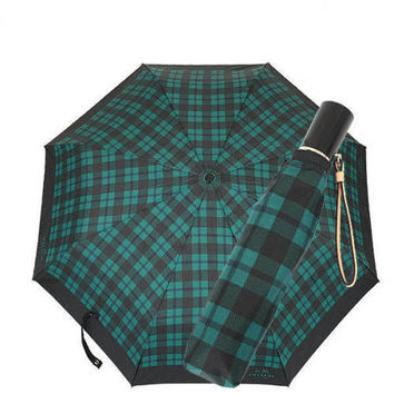 Coach Sign Plaid Print Umbrella in Atlantic Multi