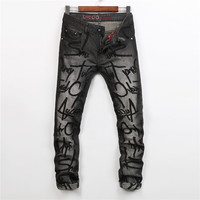 Design Embroidery Alphabet Strong Character Fashion Men's Fashion Jeans [6541848003]