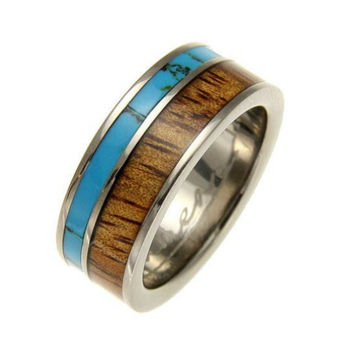 NICO Men's Turquoise & Natural Koa Wood Inlaid Titanium Wedding Band - 8mm