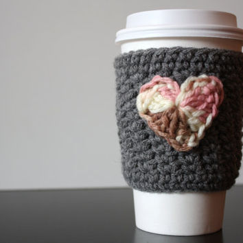 Crochet Coffee Cup Cozy/Sleeve - Grey with Neopolitan Heart (Ready to Ship)