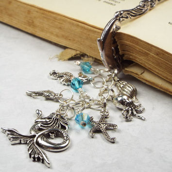 Mermaid and Dolphin Beaded Bookmark with Seashell, Seahorse, Starfish, Octopus and Fish Charms