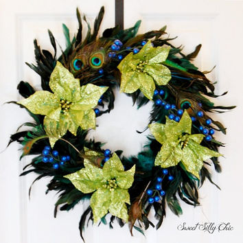 Holiday Peacock Feather Wreath, Green Teal Blue Christmas Feather Wreath, Poinsettia, Winter Wreath, Front Door Wreath, Indoor Wreath