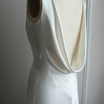 1930's Inspired Bias Bridal Gown Heavy Silk Satin by rschone