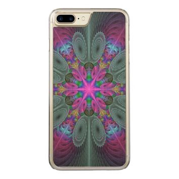 Mandala from the Center Colorful Fractal Art Carved iPhone 7 Plus Case