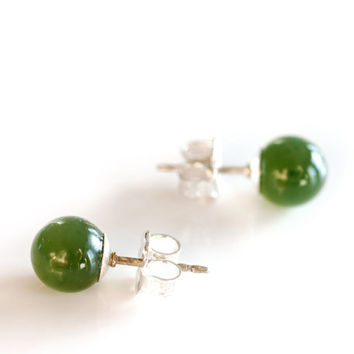 Green jade post earrings with solid sterling silver backs , 6mm round nephrite jade ball stud earrings , natural jade minimalist earrings
