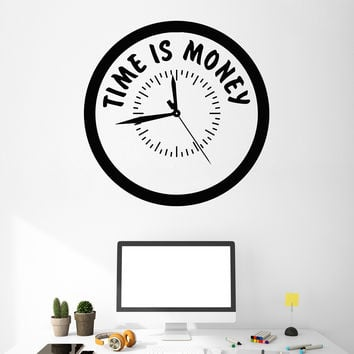 Vinyl Wall Decal Office Quote Time is Money Clock Business Decor Stickers Unique Gift (ig4808)