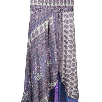 Mogul Interior Womens 2 in 1 Sundress Recycled Silk Two Layer Printed Strapless Purple Beach Dress Maxi Skirts S