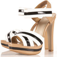 LANEY Stripey Patent Sandals in Black - Heels - Shoes - Topshop USA