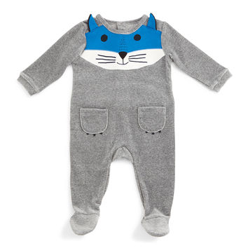 Fox-Face Velour Footie Pajamas, Gray, Size 3-9 Months,
