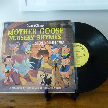 "Vintage 1964 LP Vinyl Record ""Walt Disney Mother Goose Nursery Rhymes with Sterling Holloway"" / Disneyland Record / Songs and Poems / Disney"