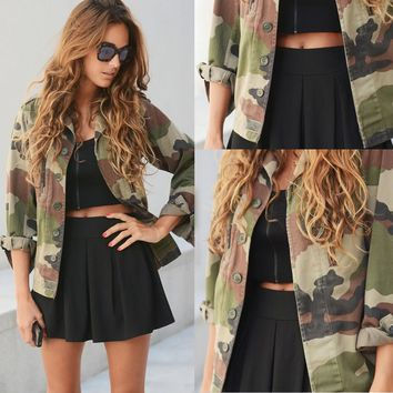 2017 Brand New Fashion Women Loose Camouflage BF Camo Coat Lapel Pocket Long Sleeve Bomber Basic Jacket Coat Cardigan Plus Size