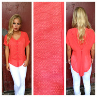 Coral Hi Low Button Up Blouse