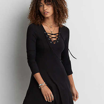 AEO Soft & Sexy Fit & Flare Dress, Black