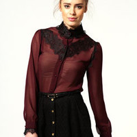 Hope Victorian Lace Detail Chiffon Blouse