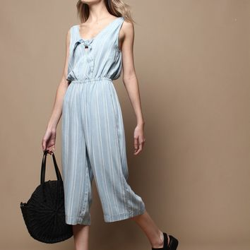 Gentle Fawn Wylie Chambray Tie Front Jumpsuit - Blue Stripe
