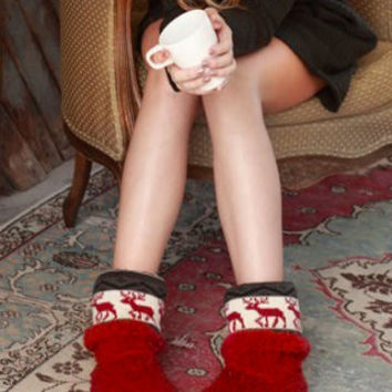 Reindeer Cheer Booties | Red