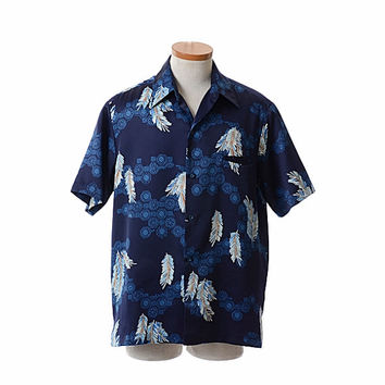 Vintage 70s Mens Tori Richard Hawaiian Shirt 1970s Aloha Graphic Feathers Tiki Bar Shag Party Rat Pack Hawaii Camp Shirt / Large