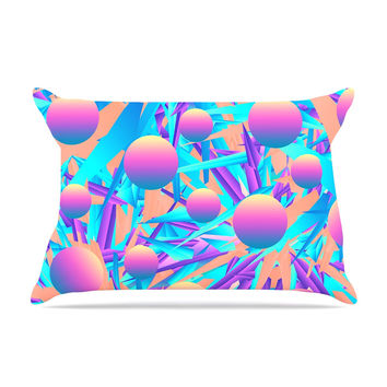 "Danny Ivan ""Blind Face"" Pink Blue Pillow Case"