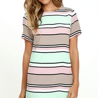 Lucy Love Palm Spring Light Pink and Mint Striped Shift Dress