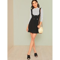 Black Sleeveless Button Sheath Dress