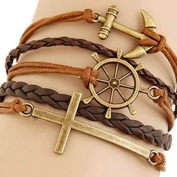 Multi 5 Layer Anchor Ship Wheel Cross Charms Wrap Bracelet Faux Brown Leather/Suede
