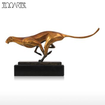 Tooarts Leopard Bronze Sculpture Modern Artificial Statue Art Craft Statues for Decoration Office Home Decoration Accessories