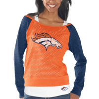 Denver Broncos Womens Holy Long Sleeve T-Shirt and Tank Top - Orange/Navy Blue