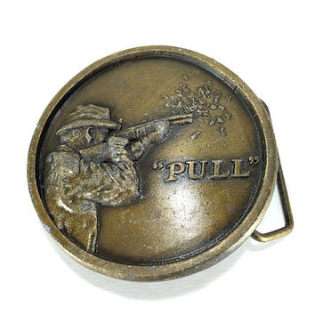Brass Marksman Buckle, Trap Shooter, Clay Pigeon Shooting, Hunters Gift, Hunting Buckle, Gift for Him Her, Outdoorsman, Vintage Accessory
